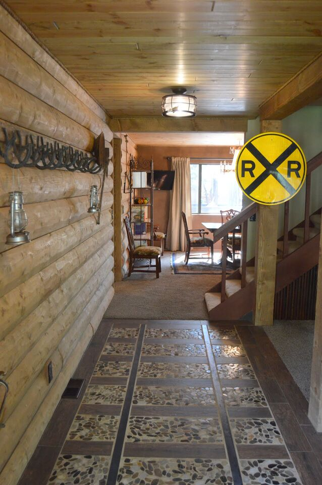 Custom flooring throughout Pinetop cabin rental